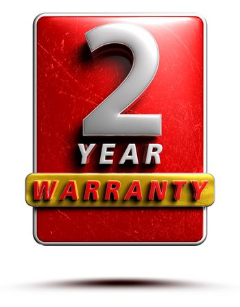 Warranty label 3D illustration 2 years Red Color Numbers in stainless steel Isolated on a white background. (With Clipping Path).