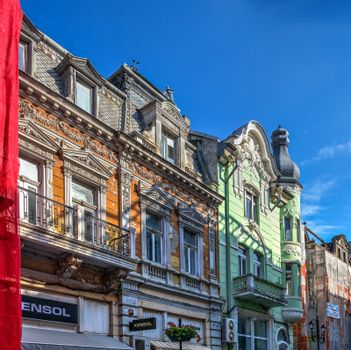 Ruse, Bulgaria - 07.26.2019. Old historical houses in the city of Ruse in Bulgaria, on a sunny summer day