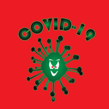 The viral infection Covid 19 with an evil grinning face isolated over a red background