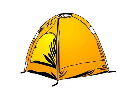 very nice orange camping tent on white background - 3d rendering