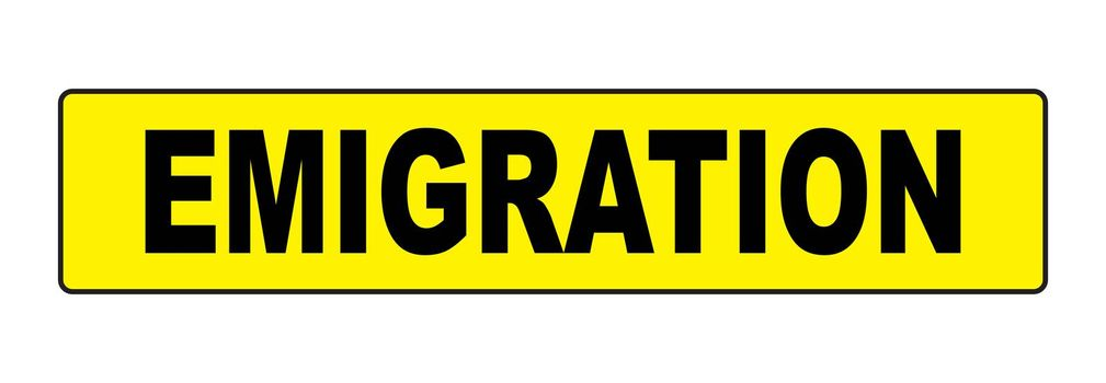 Bright yellow emigration sign over a white background
