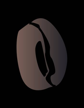 A single dark roasted coffee bean on a black background