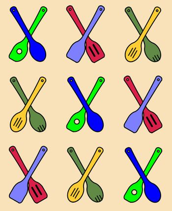 A collection of wooden kitchen tools in a seamless repeating pattern over a pale background