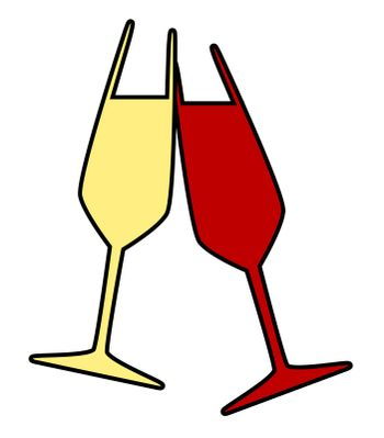 Two charged and colorful wine glasses isolated on a white background.