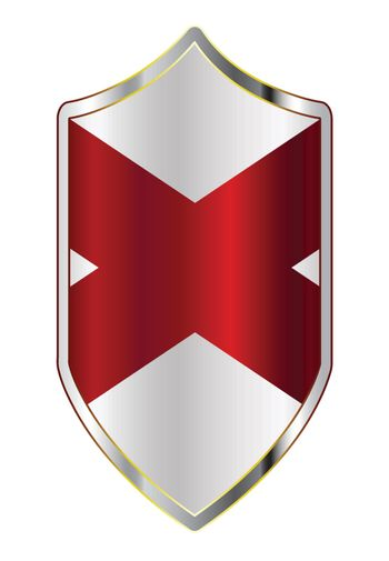 A typical crusader type shield with the state flag of Alabama all isolated on a white background