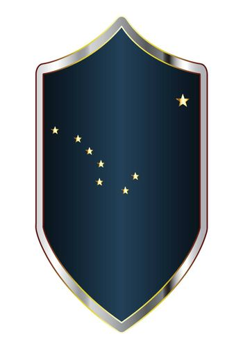 A typical crusader type shield with the state flag of Alaska all isolated on a white background