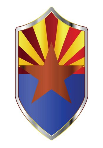 A typical crusader type shield with the state flag of Arizona all isolated on a white background