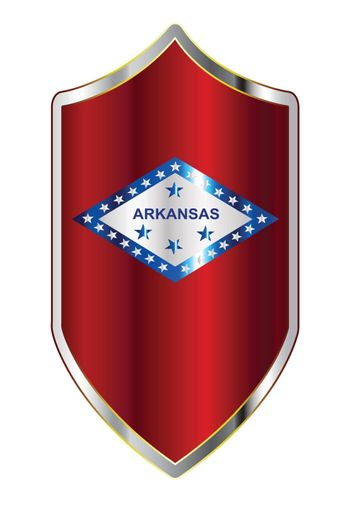 A typical crusader type shield with the state flag of Arkansas all isolated on a white background