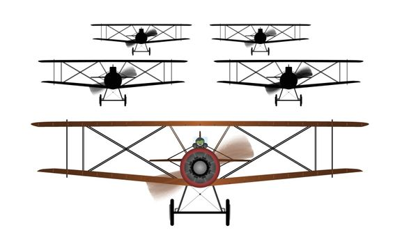 A WWI RFC fighter planes in formation