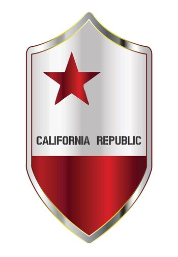 A typical crusader type shield with the state flag of California all isolated on a white background