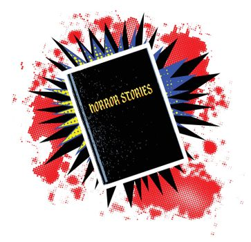 A comic cartoon style boom explosion set with a horror stories book over a white background