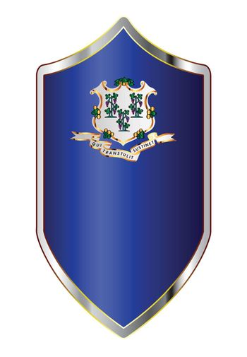 A typical crusader type shield with the state flag of Connecticut all isolated on a white background