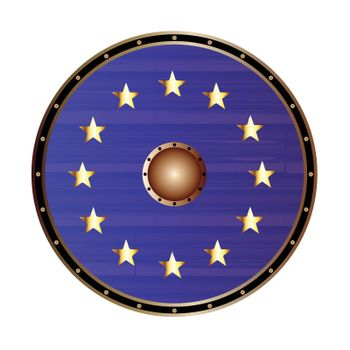A round shield a depiction of the EU flag on a white background