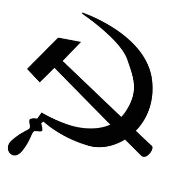 The hammer and sickle emblem of the Soviet Union isolated on a white background