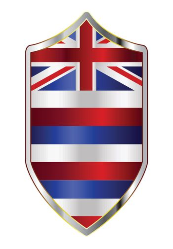 A typical crusader type shield with the state flag of Hawaii all isolated on a white background