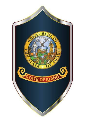 A typical crusader type shield with the state flag of Idaho all isolated on a white background