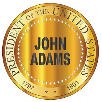 John Adams president of the United States of America round stamp
