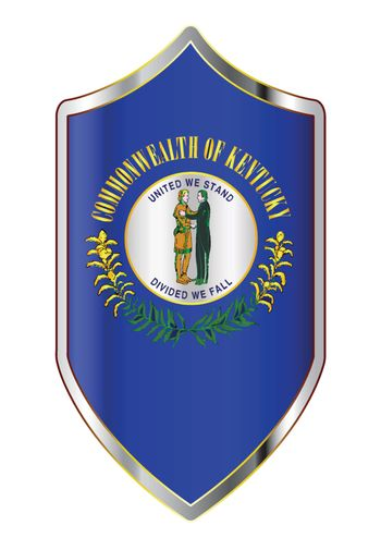 A typical crusader type shield with the state flag of Kentucky all isolated on a white background