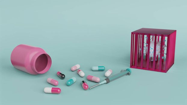 Syringe and medicine capsule with bottle and virus in cage