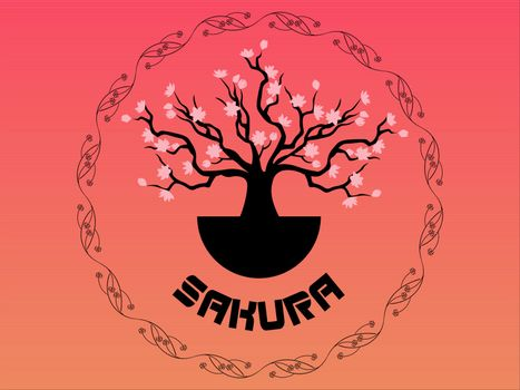 beautiful icon with blooming sakura in ornamented frame on pink gradient background