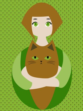 Cute and cozy illustration with girl hugging a ginger cat with green eyes