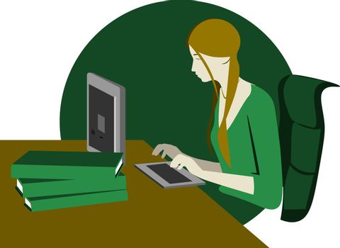Colorful illustration of workplace and the young woman sitting at the computer