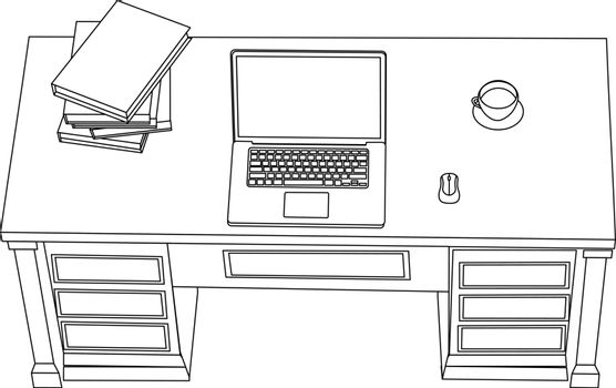 Minimal line art of workplace with laptop on the table, document folders and cup of coffee