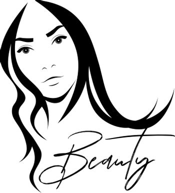 Black and white stencil with a beautiful woman face and text