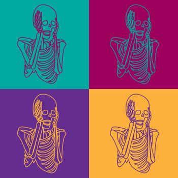 Spooky vintage pattern with colorful screaming skeletons in pop art style