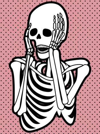 Spooky illustration with a screaming skeleton on pink dotted background