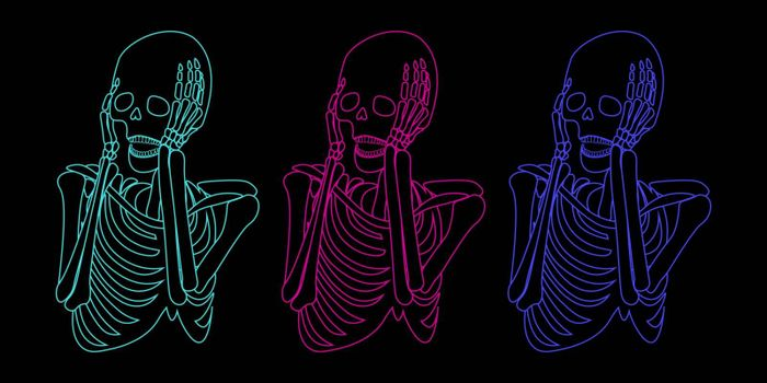 Spooky illustration with three colorful screaming skeletons on black background