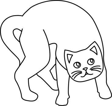 Minimal line art of weird cartoon curious or scared cat
