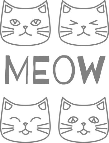 Four minimal grey icons with cute outline cat faces and text meow