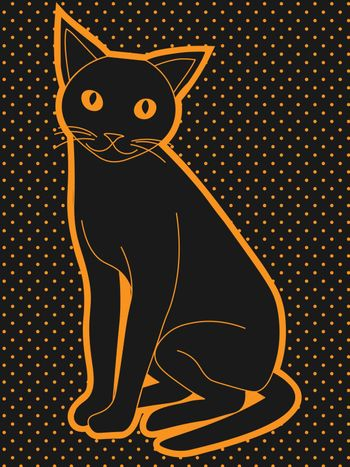Cute black cat with yellow eyes on black and yellow dotted background