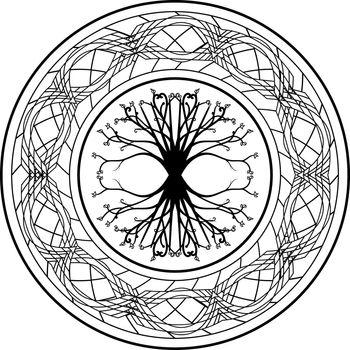 Pagan viking tree of life yggdrasil in tribal ornamented circle