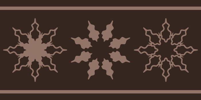 Ornament or three options of of three octagonal stars on brown background