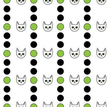 Cute seamless pattern with cat faces and black and green circles