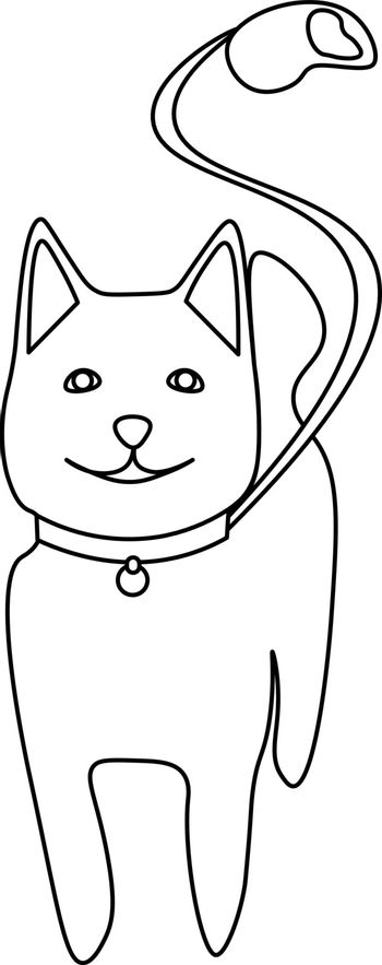 Simple minimal line art of cute smiling dog with a leash