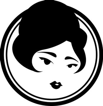 Elegant black and white icon with cute vintage asian lady
