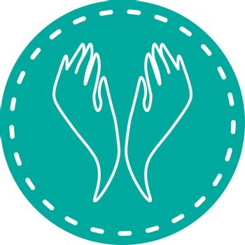 Turquoise icon with two abstract hands up in dotted frame