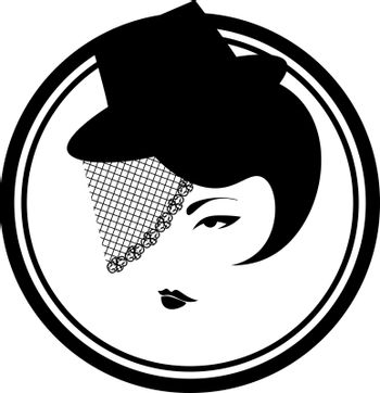 Elegant black and white icon with vintage lady in the hat and veil