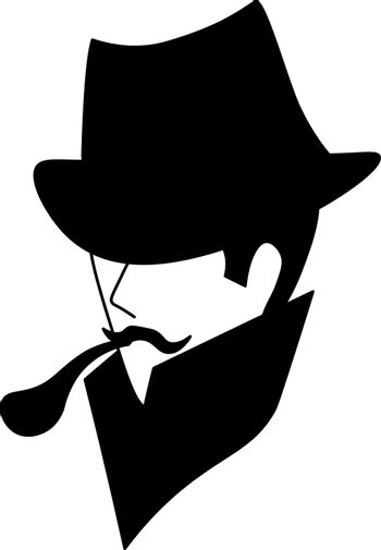 Black silhouette of minimalistic vintage man in hat with tobacco pipe