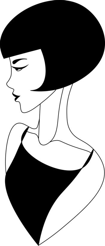 Black and white abstract minimalistic vintage woman with short hair