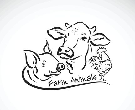Vector group of animal farm label., Cow, Pig, Chicken., Logo Animals. Easy editable layered vector illustration.