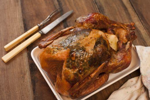 Crispy grilled or roasted whole chicken