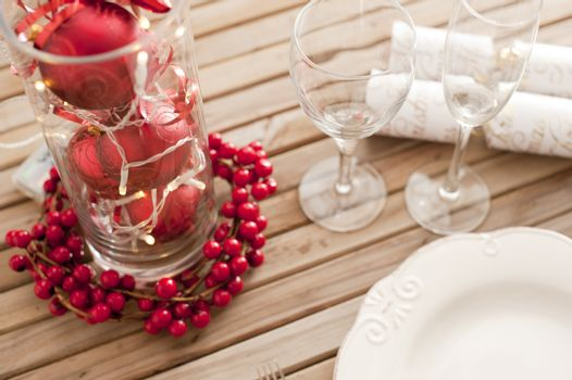 Decorative red and white themed Christmas table