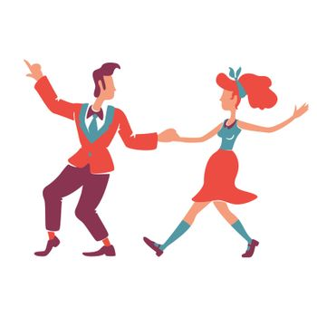 Couple dancing boogie woogie flat color vector faceless characters. Caucasian 40s american woman and man. Retro style disco performers, old fashioned 50s show isolated cartoon illustration