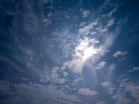 Dramatic blue sky and clouds sunbeam