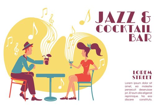 Jazz and cocktail bar banner flat vector template. Retro cafe. 50s style party invitation. Brochure, poster concept design with cartoon characters. Horizontal flyer, leaflet with place for text