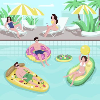 Pool party flat vector illustration